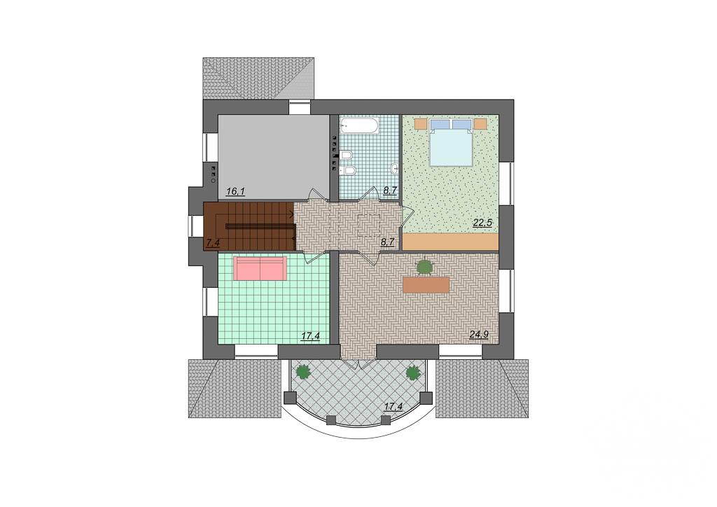 Дизайн фасада коттеджа 314м2 в Сысерти 4