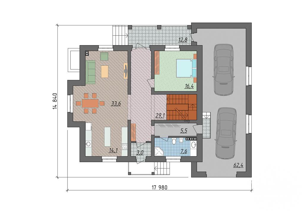 Дизайн-проект фасада коттеджа 400 м2 в КП Расторгуев 4
