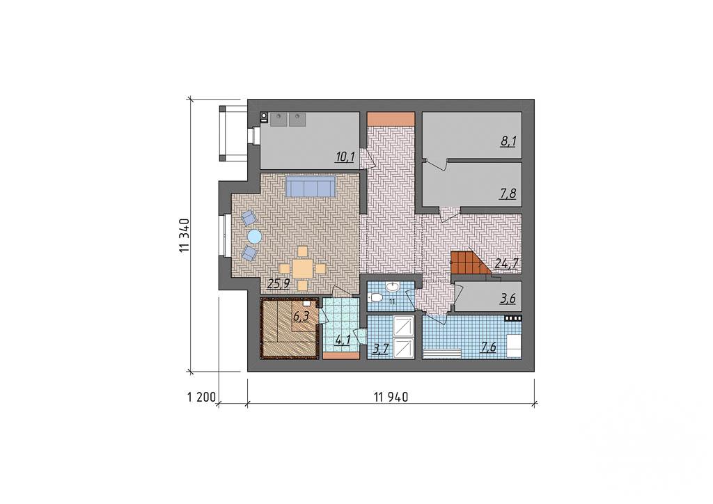 Дизайн-проект фасада коттеджа 400 м2 в КП Расторгуев 5
